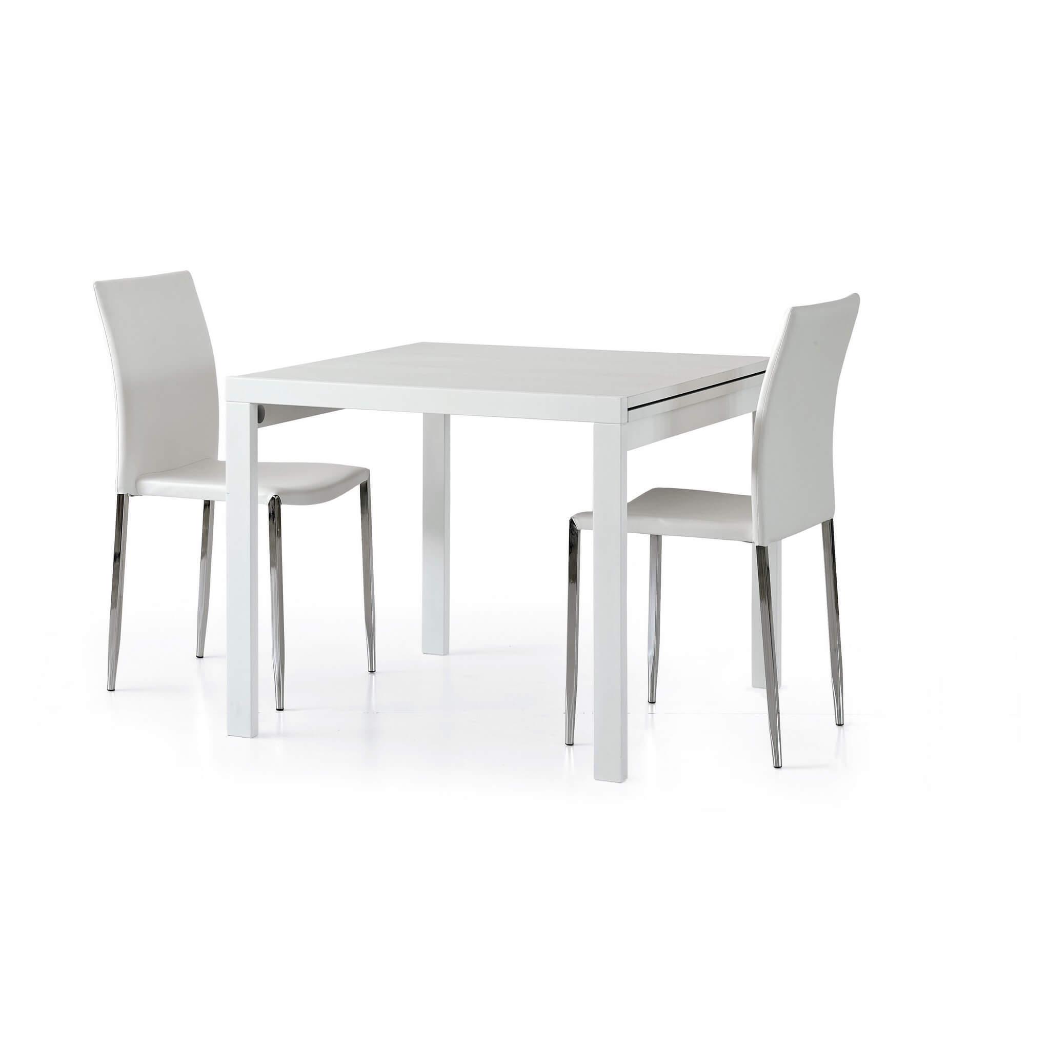 milani home meyer - tavolo da pranzo moderno allungabile a libro frassinato 90 x 90/180