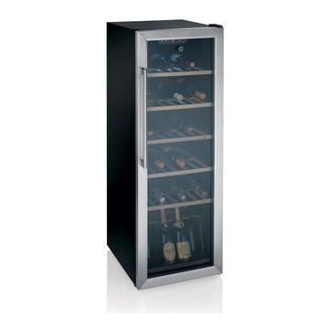 Hoover HWC 25360DL Inox B 142x49x59 Porta in vetro a doppio strato con cornice inox - Maniglia cromata -Mono-zona - Display LCD - ripiani in legno - Cantine - Garanzia