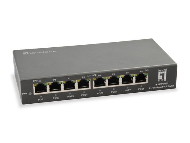 LevelOne GEP-0823 Gigabit Ethernet (10/100/1000) Nero Supporto Power over Ethernet (PoE)