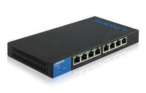 Linksys Switch di rete Linksys LGS308P Gestito Gigabit Ethernet 10/100/1000 Supporto Power over Ethernet PoE Nero Blu