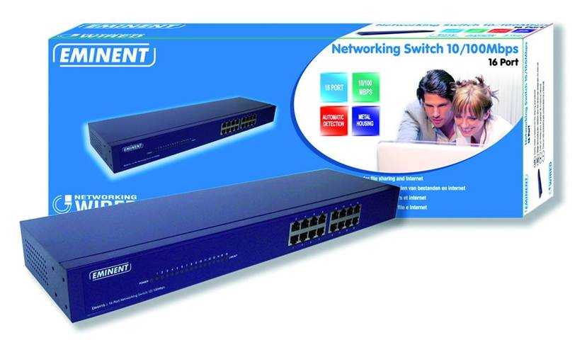 Eminent EM4416 16 Port Networking Switch 10/100Mbps Non gestito Blu