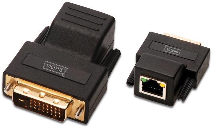 Digitus DS-54101 cavo di interfaccia e adattatore RJ-45 F DVI-D M Nero
