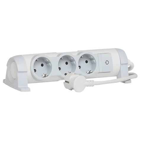 C2G 80821 prolunghe e multiple Interno 1,5 m 3 presa(e) AC Grigio, Bianco