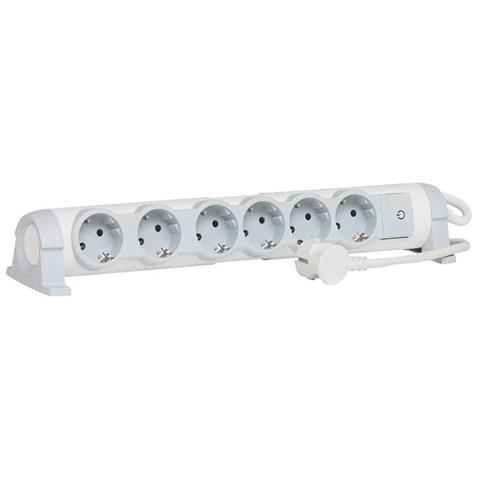 C2G 80823 prolunghe e multiple Interno 1,5 m 6 presa(e) AC Grigio, Bianco