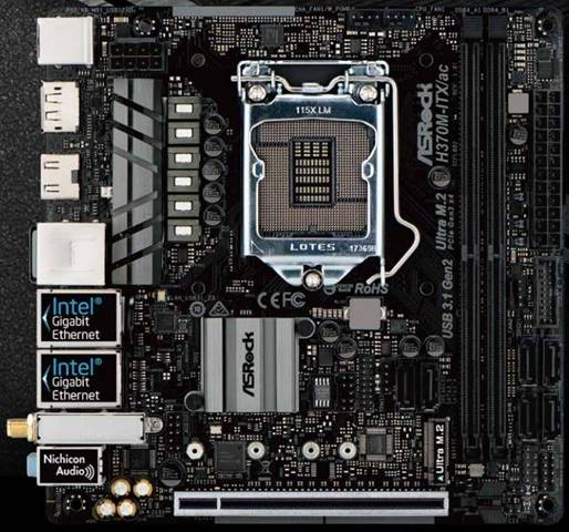 ASRock H370M-ITX/ac LGA 1151 (Presa H4) Intel® H370 mini ITX