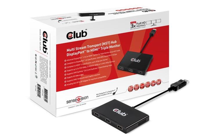 Club 3D SenseVision MST Hub DP1.2 to HDMI Triple Monitor