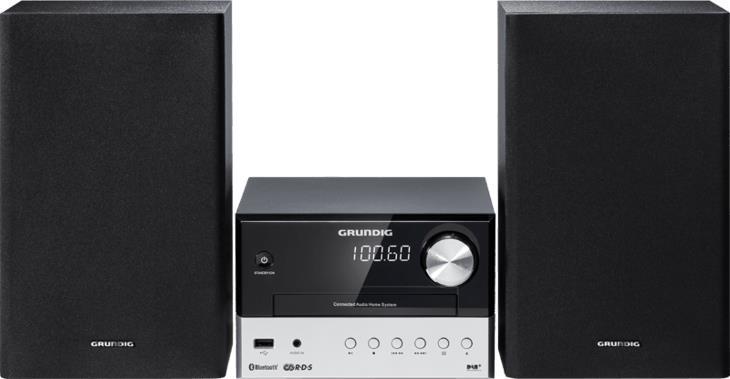 Grundig CMS 1050�DAB + BT MICRO impianto compatto (Bluetooth, Riproduzione Cd Mp3, Porta USB), colore: nero/argento
