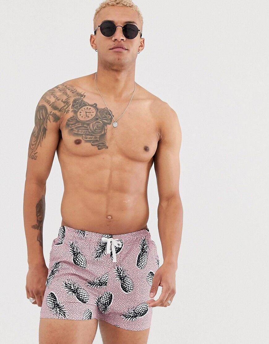 Bershka Pantaloncini da bagno rosa con stampa di ananasRosa