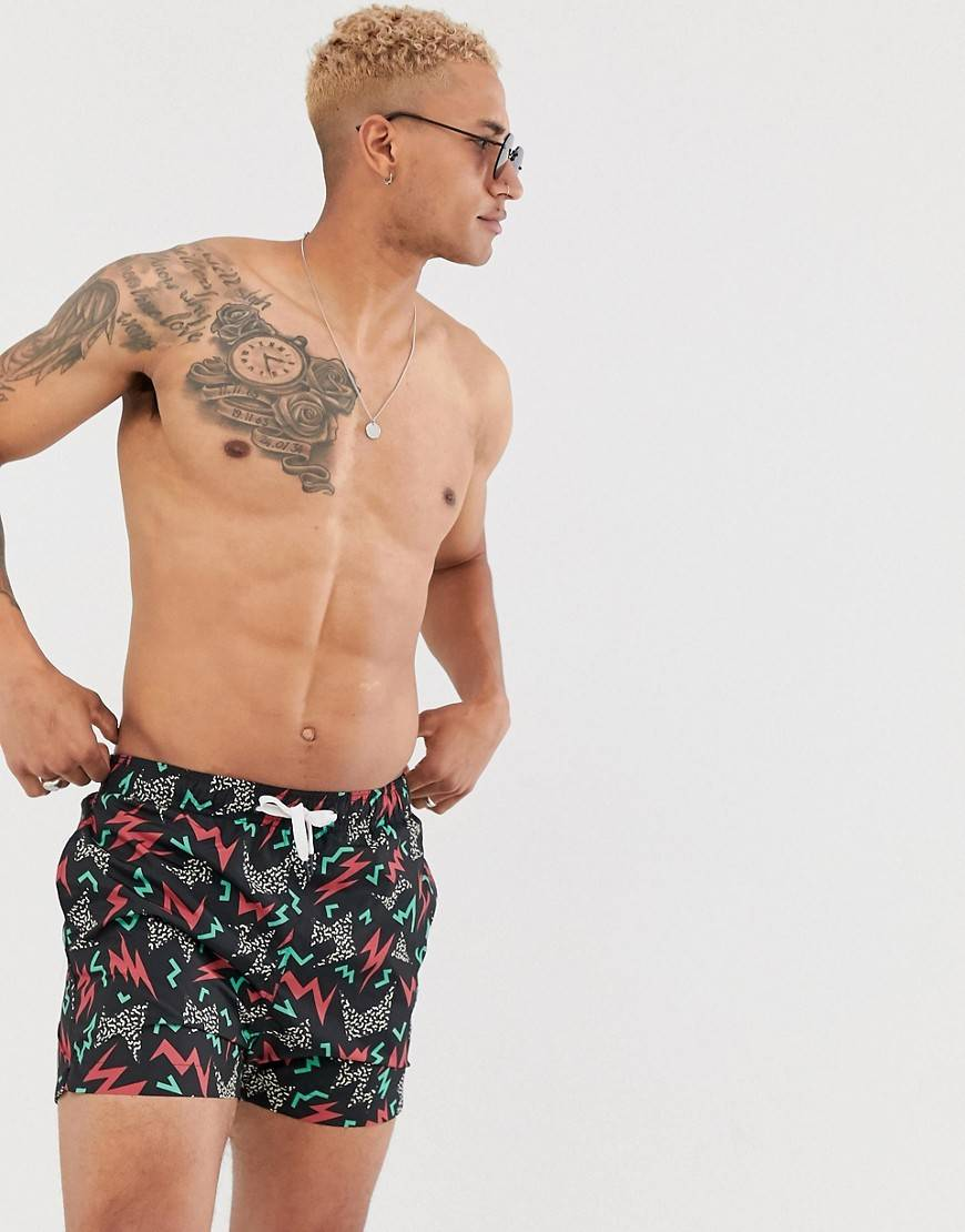 Bershka Pantaloncini da bagno neri con stampa geometricaNero