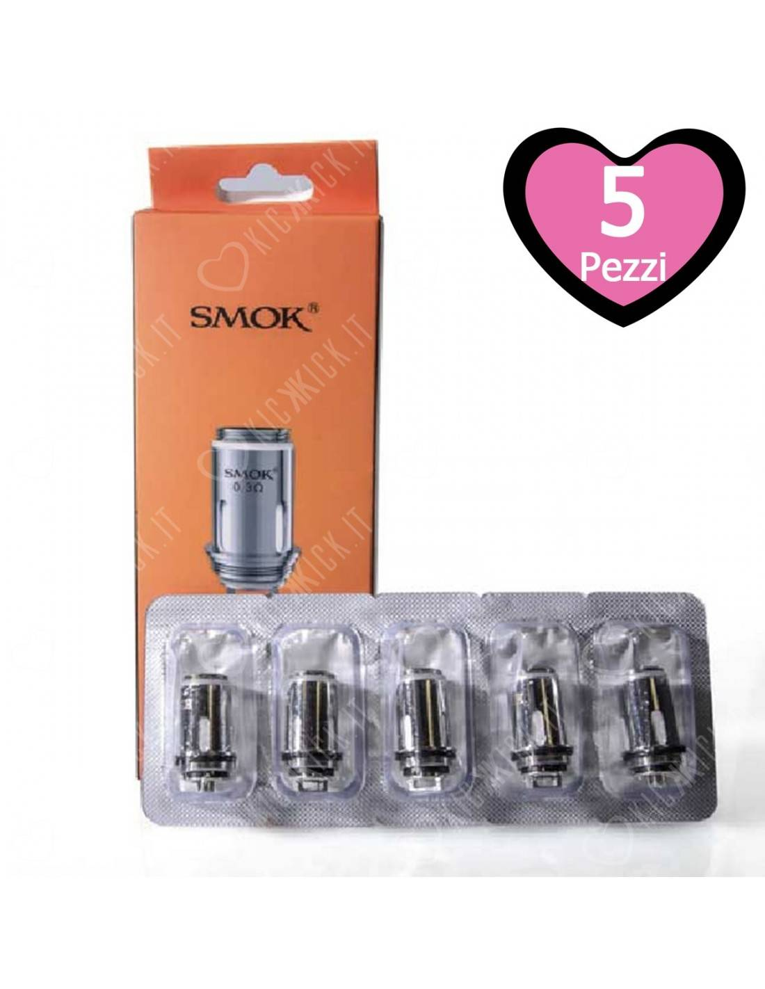 smok resistenza stick aio head coil per atomizzatori kit stick aio e priv one - 5 pezzi