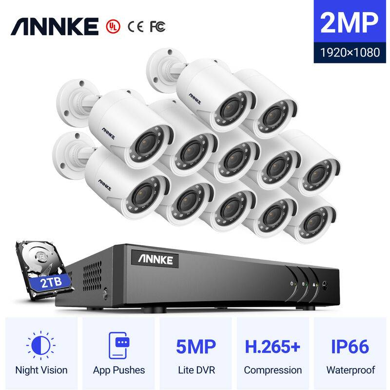 ANNKE Sistema di telecamere di sicurezza CCTV a 16 canali DVR 3MP