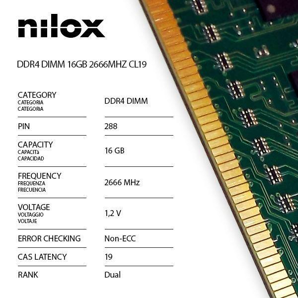 Nilox nxd162666m1c19 ram ddr4 dimm 16gb 2666mhz cl19 Componenti Informatica