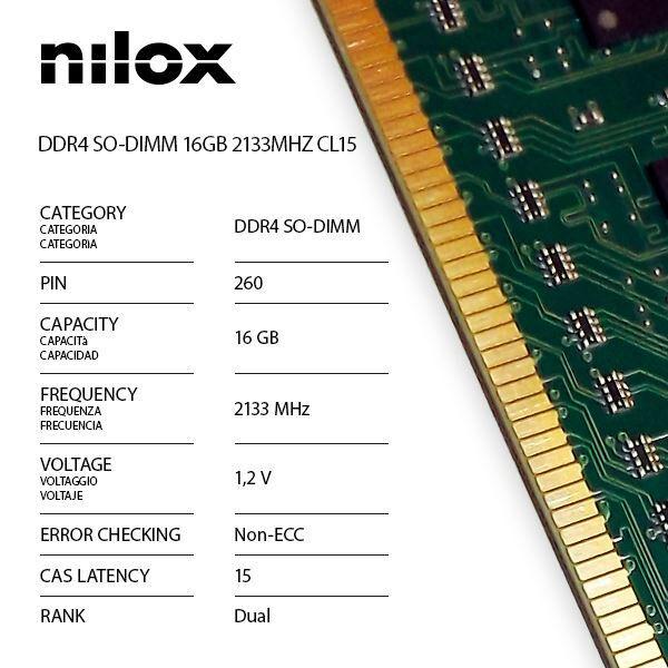 Nilox nxs162133m1c15 ram ddr4 so-dimm 16gb 2133mhz cl15 Componenti Informatica