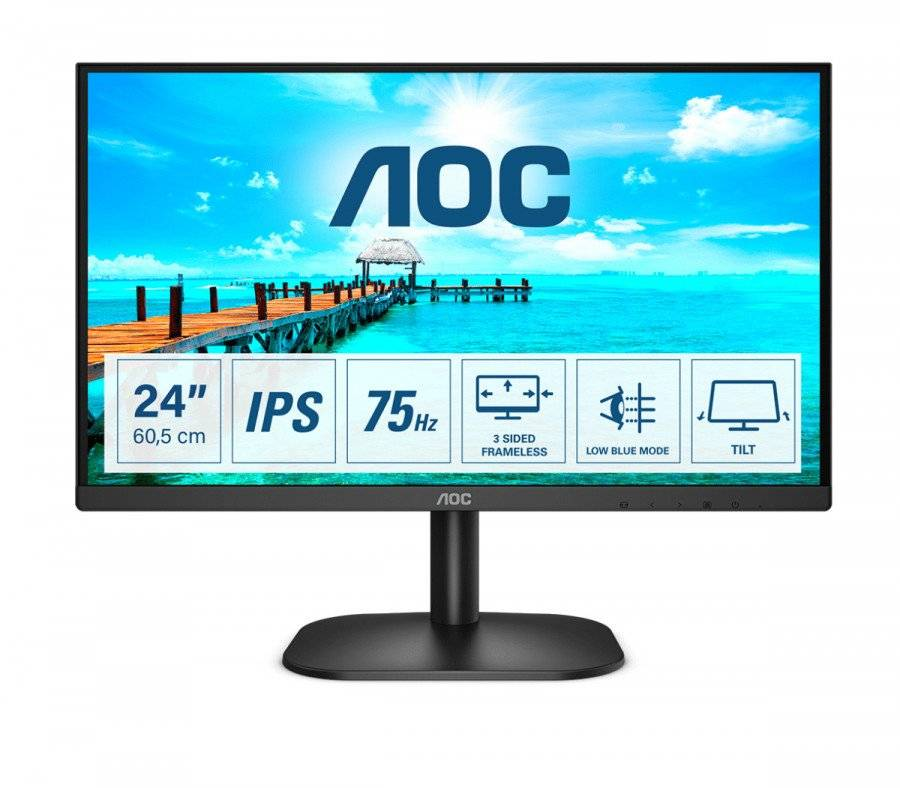 AOC monitor  led 23.8'' wide 24b2xd ips 1920x1080 4ms 250cd/mq 1.000:1 (20.000.000:1 Stufe Climatizzazione