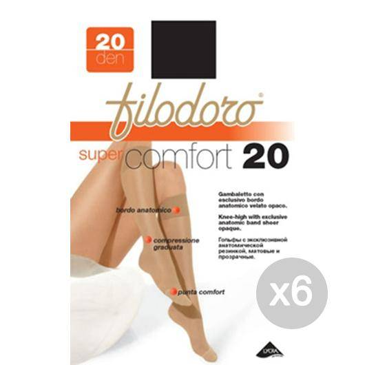 Filodoro Set 6  Gambaletto Super Comfort 20 1/2 Nero S/M Calza Da Donna Accessorio Moda