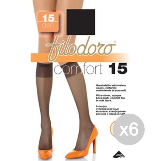 Filodoro Set 6  Gambaletto Comfort 15 Nero Calza Da Donna Accessorio Moda