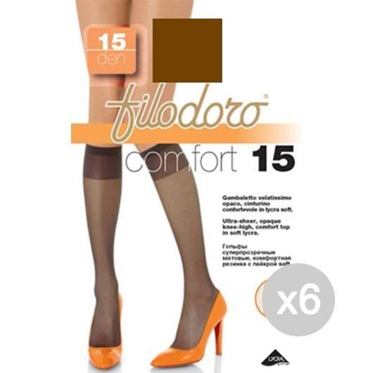 Filodoro Set 6  Gambaletto Comfort 15 Glace Castoro Calza Da Donna Accessorio Moda