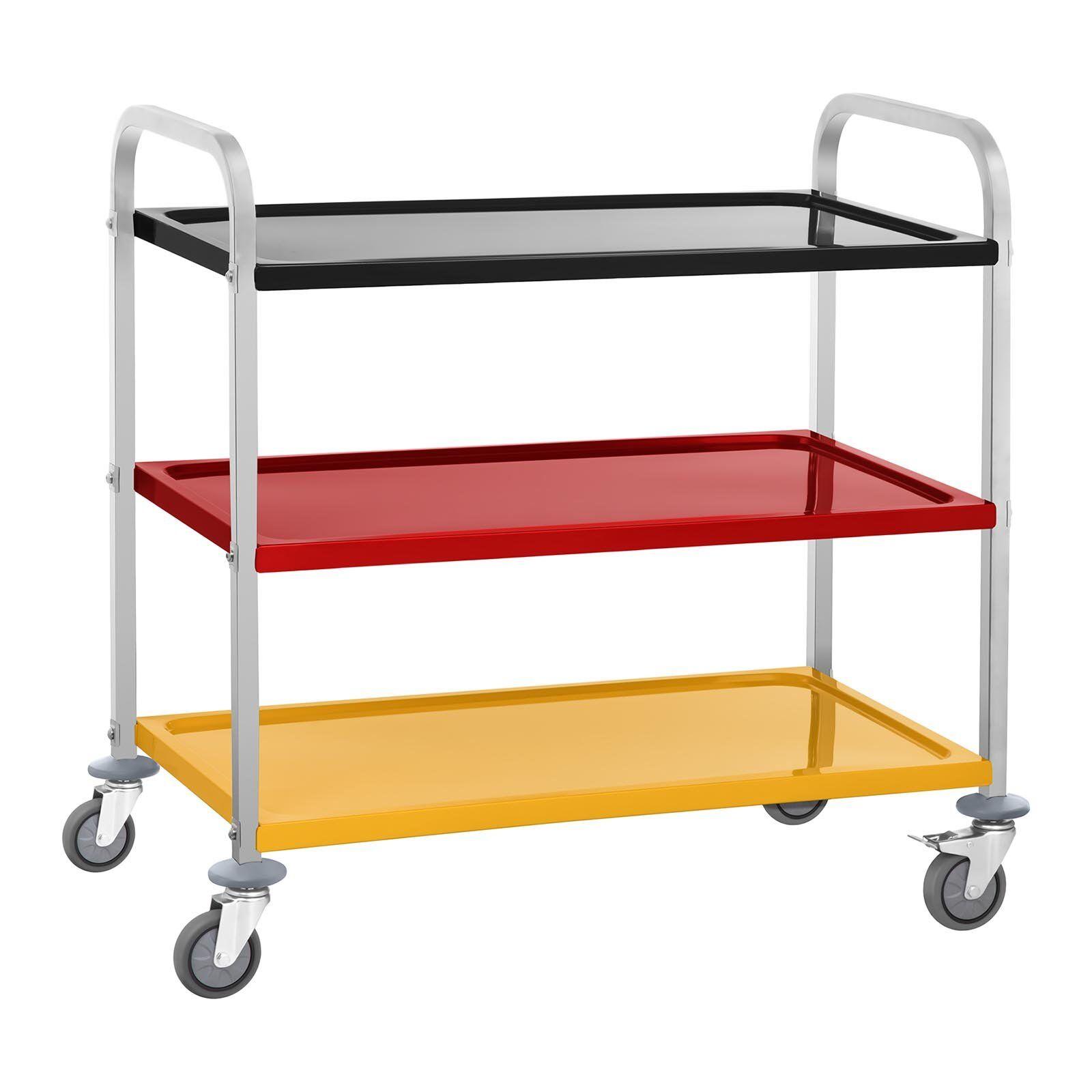 royal catering carrello di servizio con 3 ripiani antiscivolo - fino a 150 kg - colorato - per uso professionale