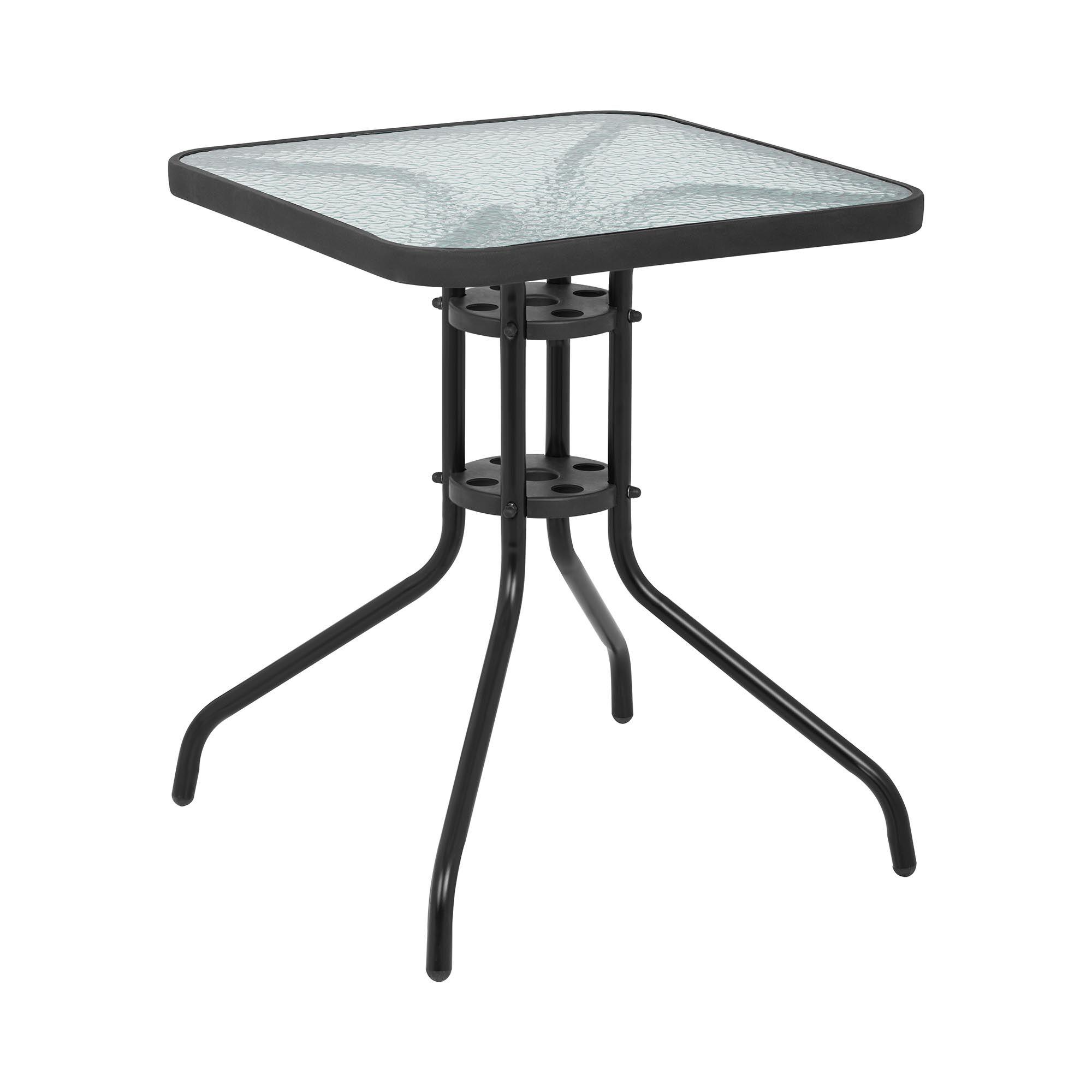 uniprodo tavolo da giardino - 60 x 60 cm - piano in vetro - nero uni_table_02