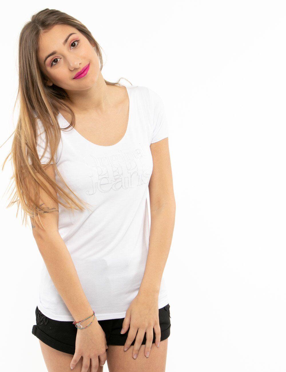 pepe jeans t-shirt pepe jeans con scritta e scollo ampio bianco