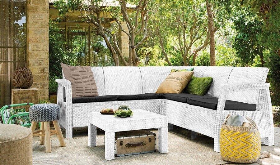 arredo giardino salotto ad angolo da giardino modello keter 'corfu' corner' composto da 2 pz codice 93798 colore bianco