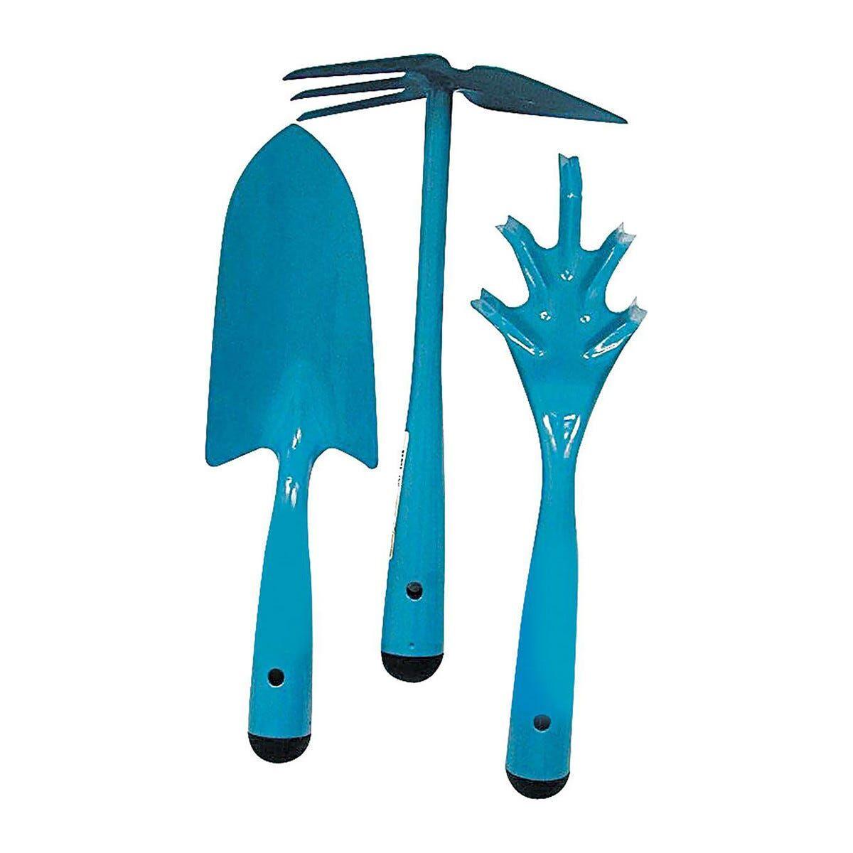 set 3 utensili in acciaio per giardino sarchiatore zappa cuore trapiantatore largo