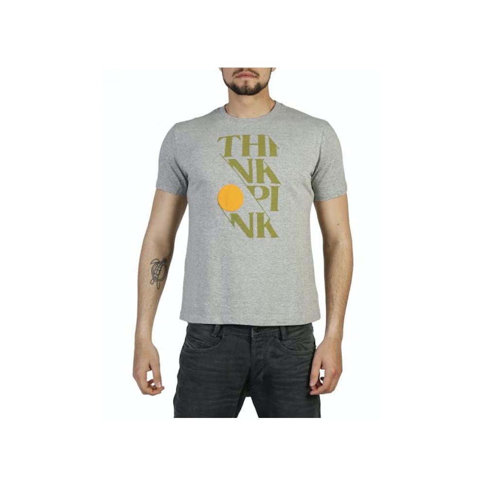 Think Pink T-Shirt Scritta Grigio L