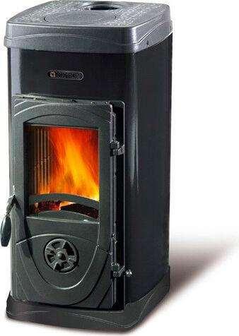 nordica extraflame super max stufa a legna bruciatutto 6 kw volume 172 m3 testata in ghisa rivestimento acciaio smaltato colore nero - super max