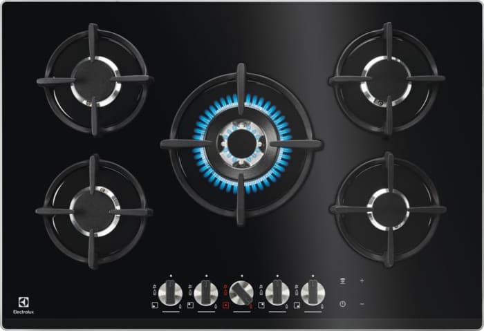 Electrolux Pvn75fuov Pvn75fuov Serie Glass On Glass Flamelight Piano Cottura 5 Fuochi A Gas 75 Cm (1 Bruciatore Wok) Colore Nero