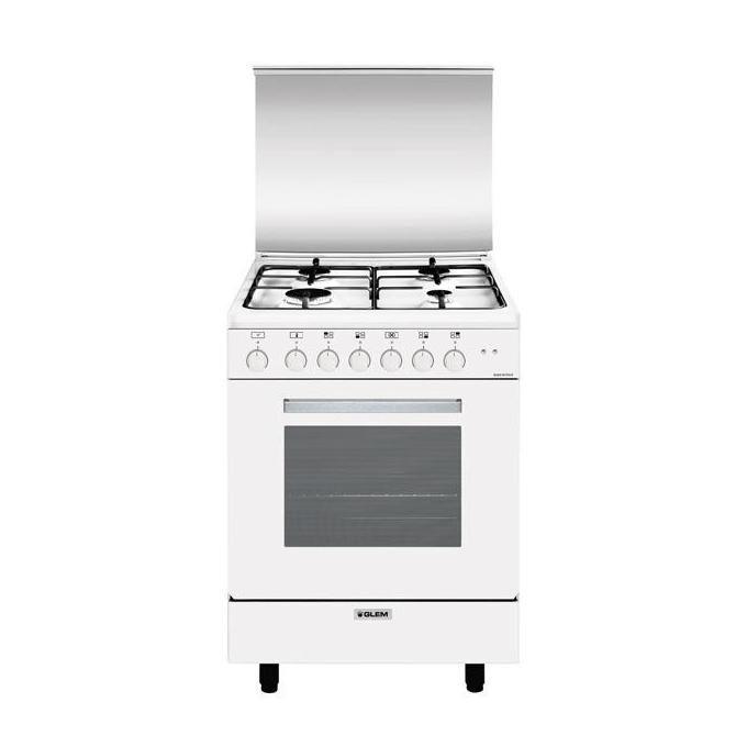 GLEM GAS Glem A654MX6 Cucina 60cm 4 Fuochi Forno Multifunzione 6 A Bianco Alpha