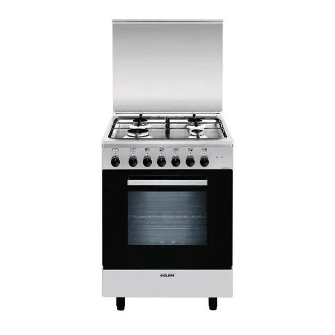 GLEM GAS A664MI6 Cucina 60cm 4 Fuochi Forno Multifunzione, A, Inox, Alpha
