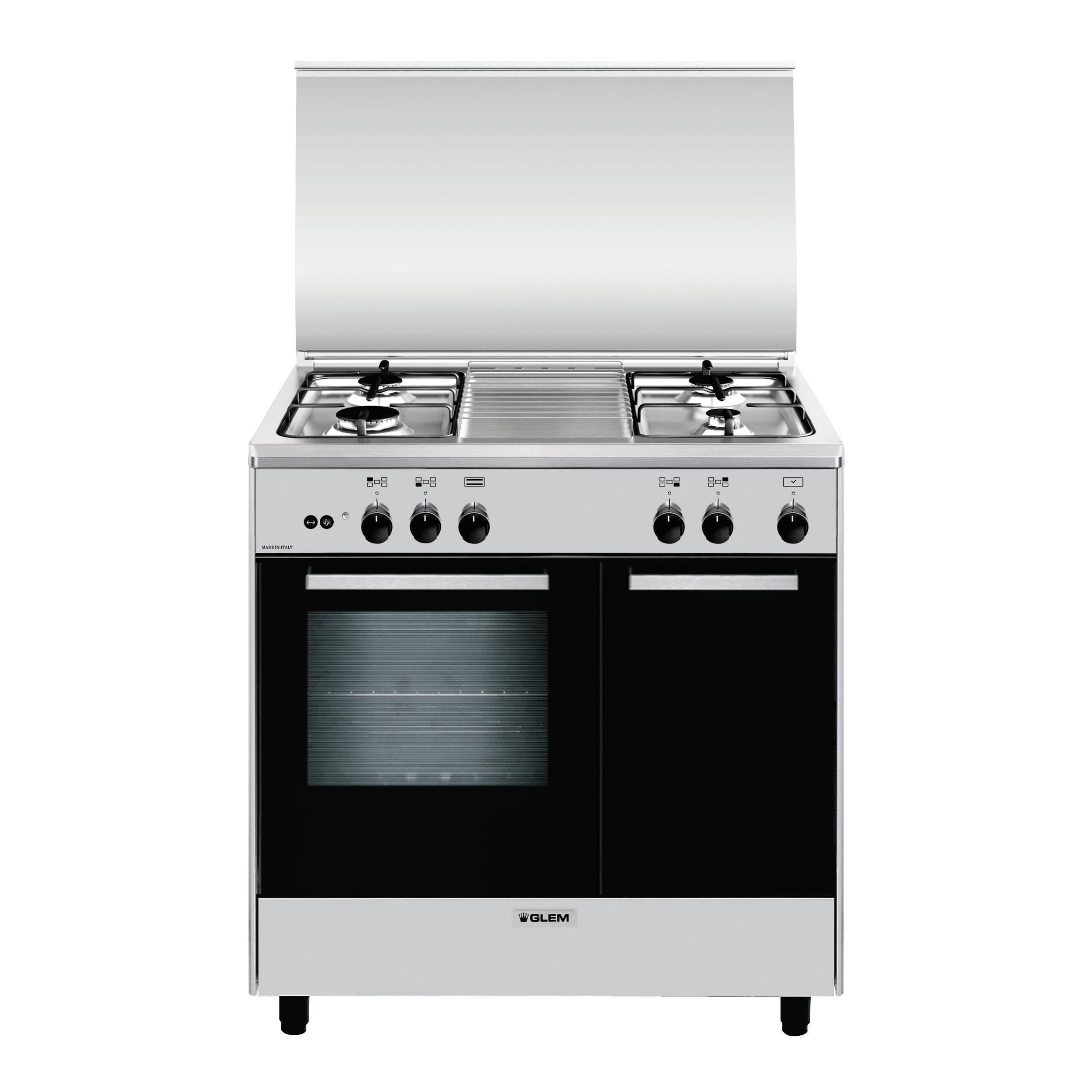GLEM GAS AR854GI Cucina a Gas inox 80x50 Porta Bombola 4f gas,  Forno a gas, inox, Classe A