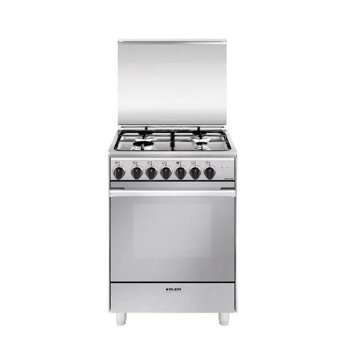 GLEM GAS U654MI6 Cucina a Gas 60x50cm 4 FUochi Forno Elettrico Multifunzione Inox Classe Energetica A