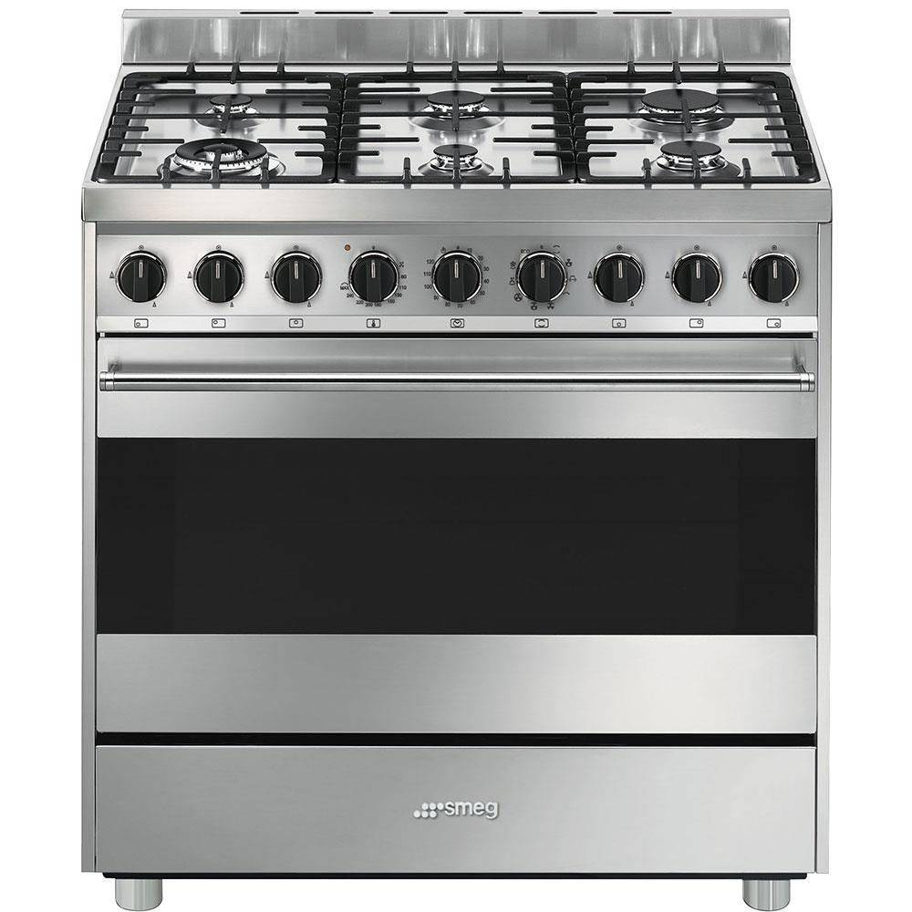 SMEG B9GMXI9 Cucina a Gas 90x60cm 6 Zone Cottura 1 Tripla Forno Multi8 Inox Ghisa