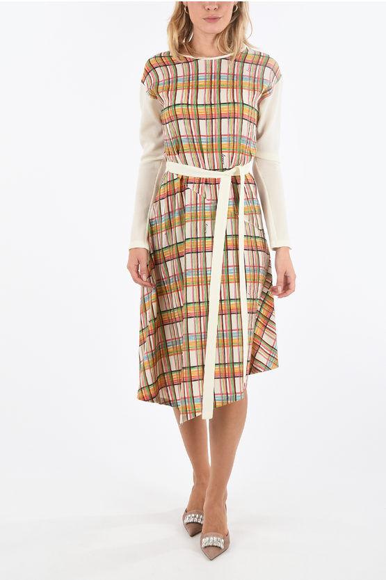 Loewe vestito midi a quadri madras con cintura taglia S
