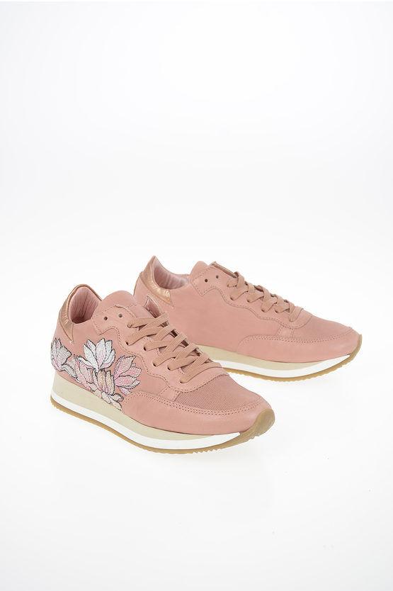 philippe model paris sneakers etoile in pelle ricamo fiori taglia 36