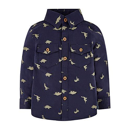 Mothercare MB St Nvy AOP Dino Shirt LS T, Nero (Navy 21), 6-9 Months (Manufacturer Size:74) Unisex-Bimbi