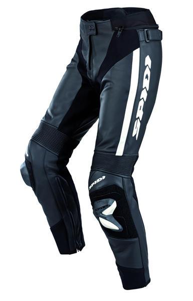 Spidi RR Pro Le signore moto pantaloni in pelle Nero Bianco 48
