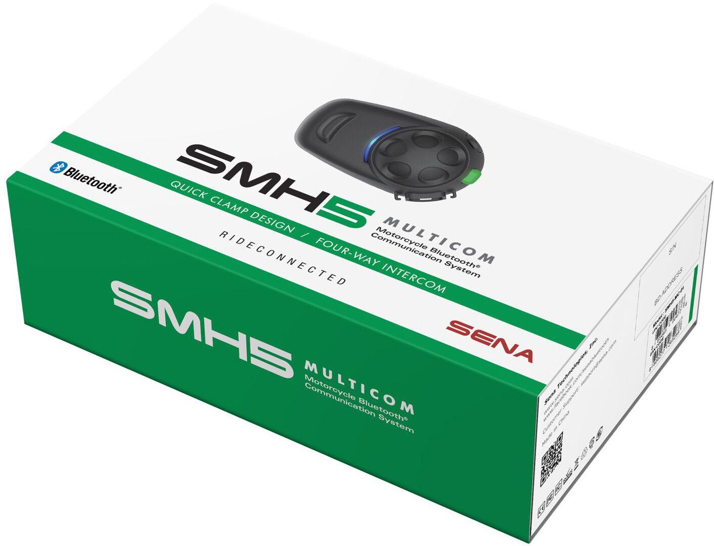 Sena SMH5 Multicom Bluetooth Communication System Single Pack Pacch... Nero unica taglia