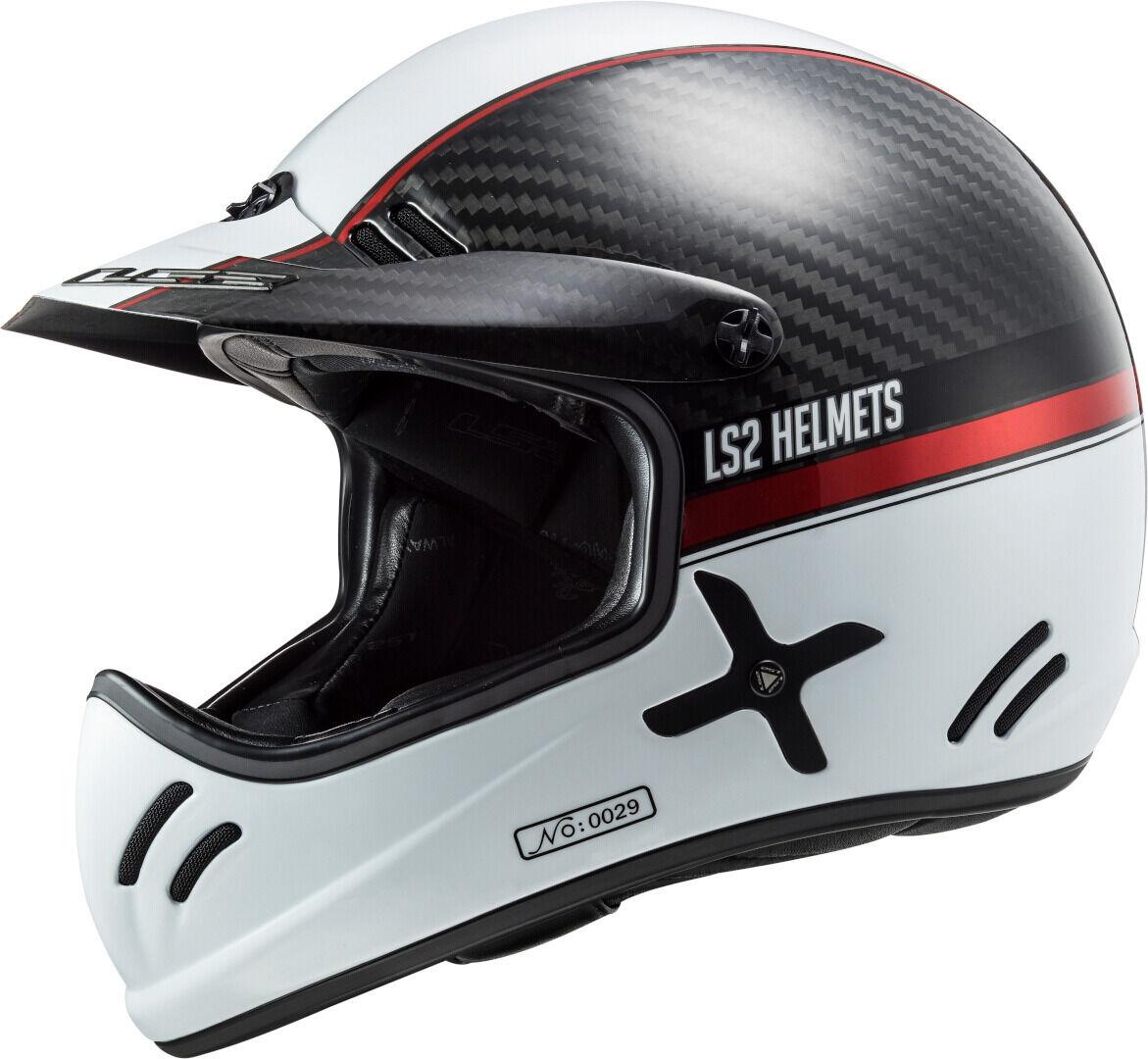 LS2 MX471 Xtra Yard Carbon Casco Motocross Bianco Carbone 3XL