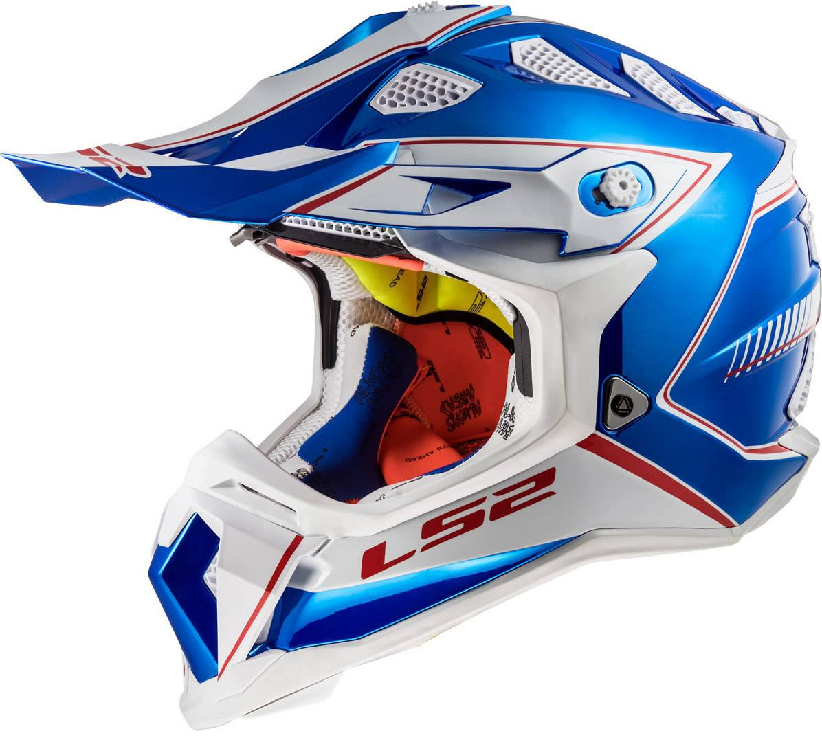 LS2 MX470 Subverter Power Casco di motocross Bianco Turchese Blu L