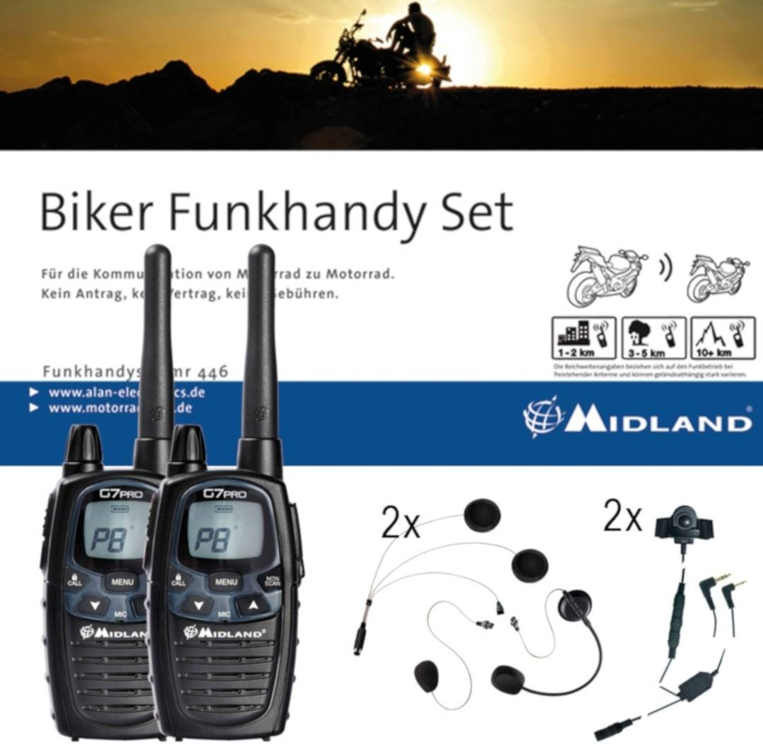 Midland G7 Pro Bikerset Universal COHS Pacchetto radio set doppio Nero unica taglia