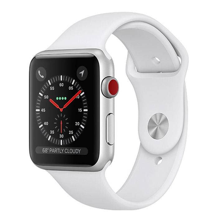 apple watch series 3 gps+cellular 42mm in alluminio color argento - sport bianco