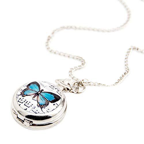 Hemobllo Classico orologio da tasca in acciaio porcellanato collana orologio da polso quadrante musica farfalla orologio da tasca per le donne (4,5 x 4,5 cm bianco)