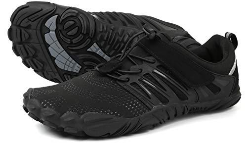 WHITIN Minimaliste Barefoot Scarpe da Corsa Uomo Donna Piedi Nudi 5 Five Fingers Dita FiveFingers Trail Running Training Train Trekking Runners Escursionismo Arrampicata Fitness Nero 39
