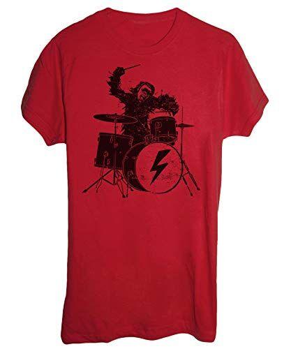 Tee Spike Tee T-Shirt 2001 : Odissea nello Spazio, Scimmia Batterista - Musica E Band - Film Cult - Uomo-S-Rossa