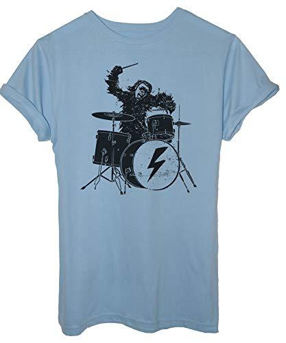 Tee Spike Tee T-Shirt 2001 : Odissea nello Spazio, Scimmia Batterista - Musica E Band - Film Cult - Uomo-L-Blu Sky