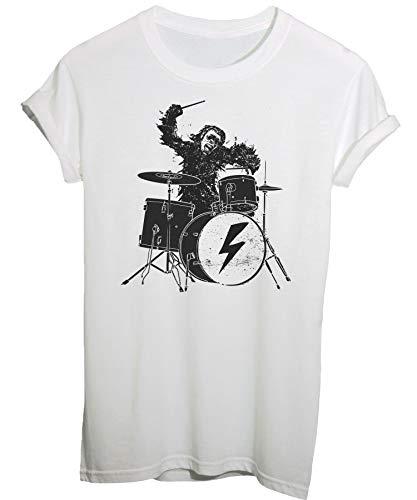 Tee Spike Tee T-Shirt 2001 : Odissea nello Spazio, Scimmia Batterista - Musica E Band - Film Cult - Uomo-M-Bianca