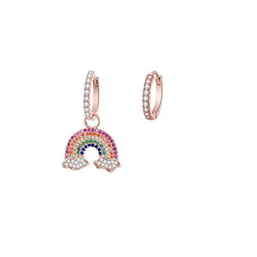 Pengjin Orecchini pendenti anallergici con zirconia cubica arcobaleno, design asimmetrico, oro rosa, argento, alla moda, accessori da donna, idea regalo e Rame, colore: Rose Gold, cod. PJ-E243-TEH0323-RG