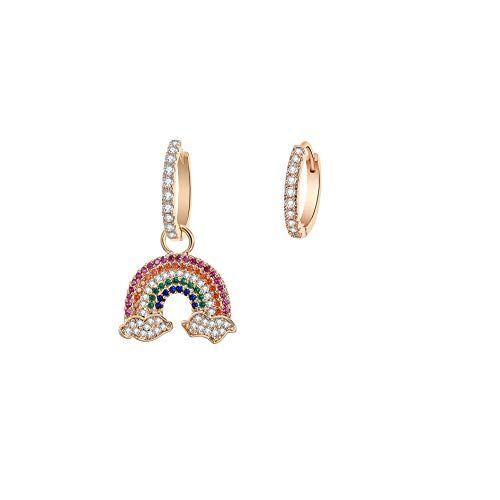 Pengjin Orecchini pendenti anallergici con zirconia cubica arcobaleno, design asimmetrico, oro rosa, argento, alla moda, accessori da donna, idea regalo e Rame, colore: Gold Plated, cod. PJ-E243-TEH0323-GD